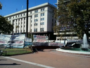 Malvinas War veterans camping in the Plaza de Mayo, Buenos Aires