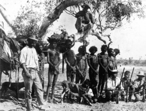 The use of Aboriginal prisoners as trackers often resulted in bizarre situations in which they were escorting fellow prisoners or tracking down escaped convicts.  Aboriginal Prisoners in chains, posed with a policeman and Aboriginal trackers (1890), 7816B, State Library of Western Australia