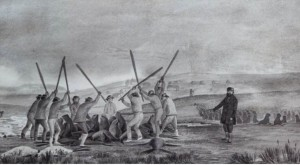 Russian Promyshlennik supervising Aleut hunters clubbing seals. The ranks of the Promyshlenniki included St Petersburg nobility, Siberian merchant families, assigned political exiles and criminals who had escaped from Siberian prisons.