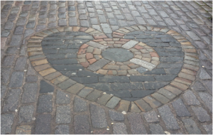 The Heart of Midlothian, located near St Giles, Edinburgh. Photographed by author 2013.
