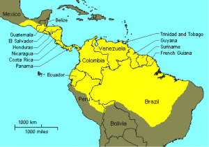 Map showing the location of French Guiana and Trinidad in relation to each other.