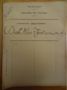 This is the file of Đinh Hữu Thật from the French colonial archives - the only extant penal dossier on a member of the Society to Encourage Learning.