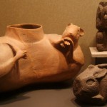 Pulque vessels with rabbit symbolism. Photo by Deborah Toner, Museo Nacional de Antropologia e Historia, Mexico City