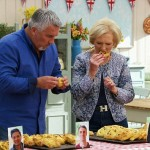 The show's famous judges, Mary Berry and Paul Hollywood, sample the contestants' flaounes.
