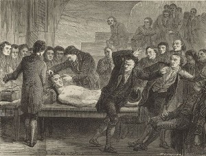 Galvanic Experiments on the body of Matthew Clydesdale, 1818. Image sourced from Wikimedia Commons.