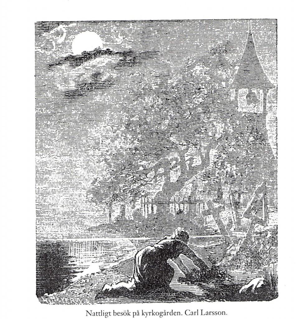 Carl Larsson, Nocturnal visit to the graveyard.