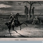 A man rides past a gibbet. Lithograph by W. Clerk. Credit: Wellcome Library, London. Wellcome Images images@wellcome.ac.uk http://images.wellcome.ac.uk Copyrighted work available under Creative Commons by-nc 2.0 UK, see http://images.wellcome.ac.uk/indexplus/page/Prices.html