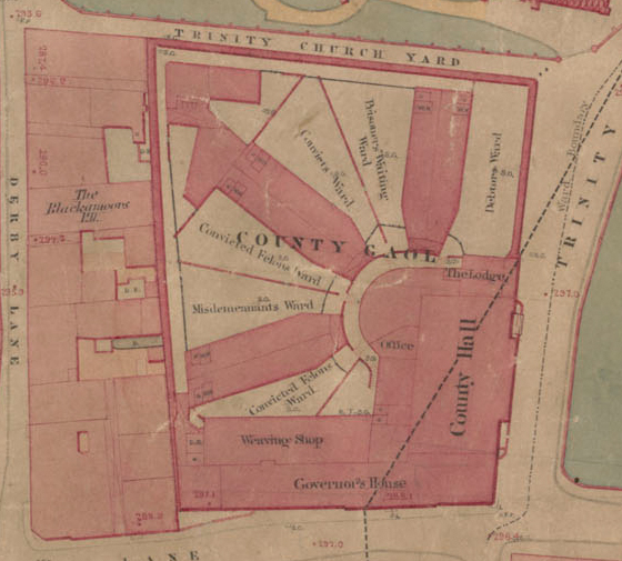 Board of Health Map, 1851. Coventry Gaol was built in 1831 to replace the decrepit Old Bridewell. It was from here Mary Ann began her last journey to Whitley Common, the site of the gallows.