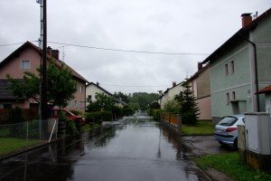 Residential streets on the site of former Gusen I and II camps