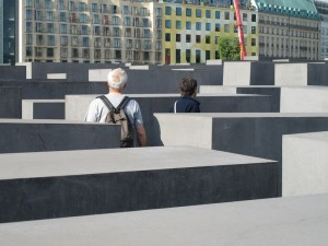 The concrete stele blocks of the Holocaust memorial in Berlin