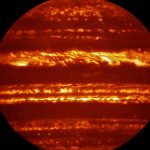 Jupiter in infrared light - spectra of the brightest regions show some signs of the presence of water, but cannot map the deep, drenched interior.  Credit: ESO/L.N. Fletcher