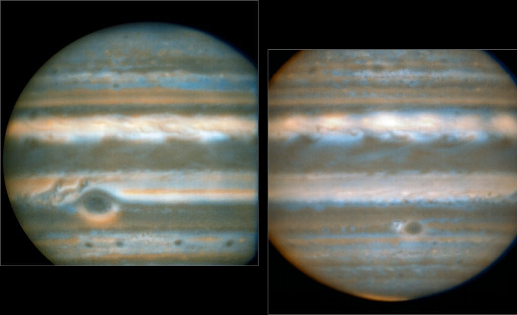 False colour images generated from VLT observations in February andMarch, showing two different faces of Jupiter. The bluer areas are coldand cloud-free, the orangey areas are warm and cloudy, more colourless bright regions are warm and cloud-free, and dark regions are cold and cloudy(such as the Great Red Spot and the prominent ovals). The wave pattern overthe North Equatorial Band shows up in red. This view was created by combining VLT/VISIR infrared images from February 2016 (left) and March 2016 (right). The orange images were obtained at 10.7 micrometres wavelength and highlight the different temperatures and presence of ammonia. The blue images at 8.6 micrometres highlight variations in cloud opacity.