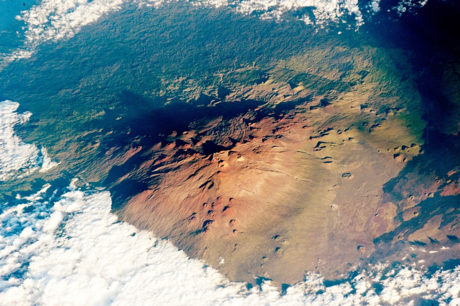 The Mauna Kea Observatories - an image cature by one of the astronauts on the ISS. Credit: NASA