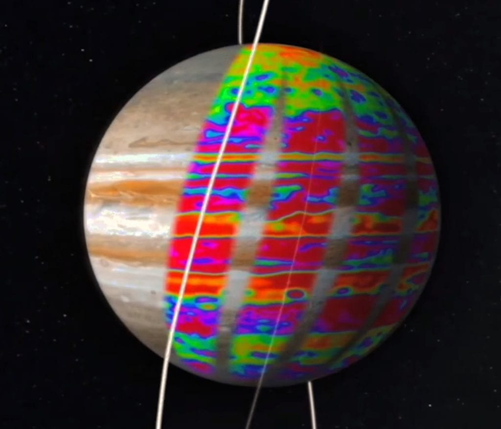 Mapping of Jupiter's deep water and ammonia, key condensible species, far below the obscuring clouds.  Credit: NASA