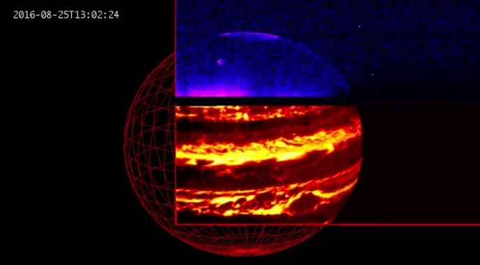 First infrared views of Jupiter from the JIRAM instrument, showing aurora at 3 microns and Jupiter's internal glow at 5 microns.