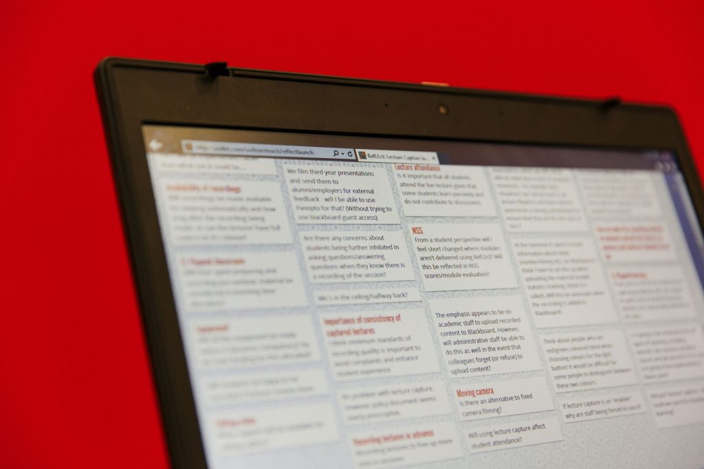 Computer screen showing debate questions