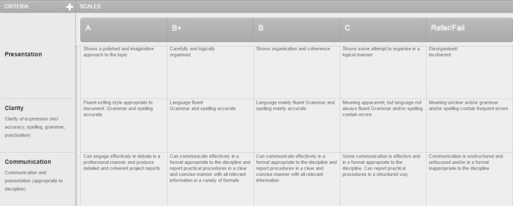 Qualitative rubric example