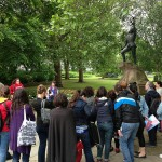 Students learn more about Richard III in Leicester's Castle Gardens