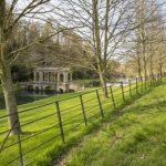 A landscape view of the Palladian Bridge at Prior Park, Bath.
