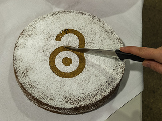 Cake with Open Access unlocked padlock image in icing