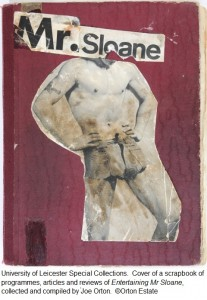 Cover of a scrapbook of programmes, articles and reviews of 'Entertaining Mr Sloane', collected and compiled by Joe Orton