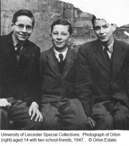 Photograph of Orton (right), aged 14, with two school-friends, 1947