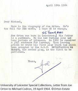 Letter from Joe Orton to Michael Codron, 19 April 1964