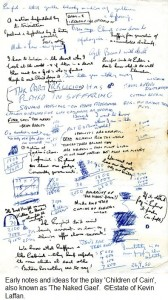 Early notes and ideas for the play 'Children of Cain', also known as 'The Naked Gael'.  ©Estate of Kevin Laffan.
