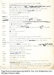Page from an early typescript draft for 'Zoo, Zoo Widdershins Zoo'.  ©Estate of Kevin Laffan.