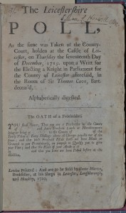 The Leicestershire Poll, 1719 (SCM 07128), title page