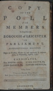 Leicester Poll Book, 1768 (SCM 0713), title page.