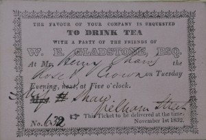 Inivitation to a tea part with the friends of William Gladstone, SCM 08352