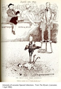 'The Great Cock Fight Continued' in the Corporate Cockpit.  From 'The Wyvern', (Leicester, 1 April 1892).
