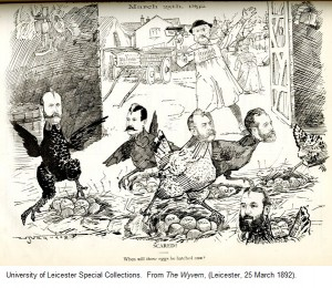 'Scared!  When will those eggs be hatched now?' from 'The Wyvern', (Leicester 25 March 1892).