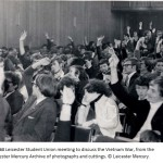 d)	A 1968 Leicester Student Union meeting to discuss the Vietnam War, from the Leicester Mercury Archive of photographs and cuttings.