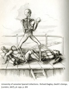 Death takes on all comers in the ring. The Champion from: Richard Dagley, 'Death's Doings', (London, 1827), pl. opp. p. 203