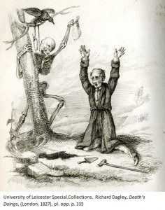 Dagley's Miser scrabbles to dig up the treasure he has hidden beneath a tree – but Death has already claimed the bag of gold, which he holds up triumphantly. Richard Dagley, 'Death's Doings', (London, 1827), pl. opp. p. 335
