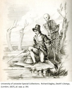 Death lurks behind the Angler's shoulder, seemingly about to trap him in a fishing net. Richard Dagley, 'Death's Doings', (London, 1827), pl. opp. p. 391