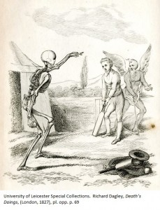 Death is not only about to bowl to the hapless Cricketer, but he also seems to be deciding on the field placings. Richard Dagley, 'Death's Doings', (London, 1827), pl. opp. p. 69