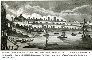View of the Thames and part of London, as it appeared in the Great Fire. From: SCM 08157, B. Lambert, The History and Survey of London and its Environs …, (London, 1806).