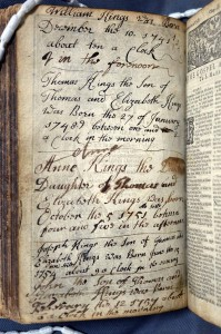 """SCS 03550: """"Wicked Bible"""", verso of NT title page recording births of members of the Kings family."""