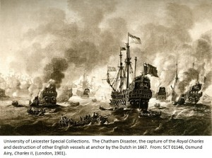 The Chatham Disaster, the capture of the Royal Charles and destruction of other English vessels at anchor by the Dutch in 1667. From: SCT 01146, Osmund Airy, Charles II, (London, 1901).