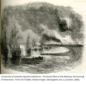 The Dutch fleet in the Medway: the burning of Sheerness. From: SCT 01384, Charles Knight, Old England, Vol. 2, (London, 1845).