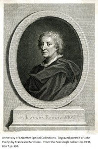 Engraved portrait of John Evelyn by Francesco Bartolozzi. From the Fairclough Collection, EP 36, Box 7, p. 590.