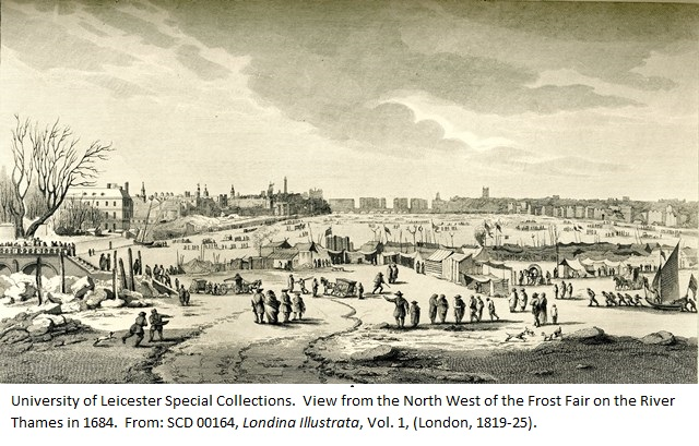 View from the North West of the Frost Fair on the River Thames in 1684. From: SCD 00164, 'Londina Illustrata', Vol. 1, (London, 1819).