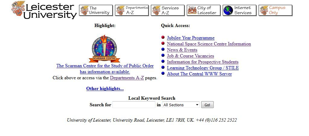 University of Leicester Homepage, 13 June 1997