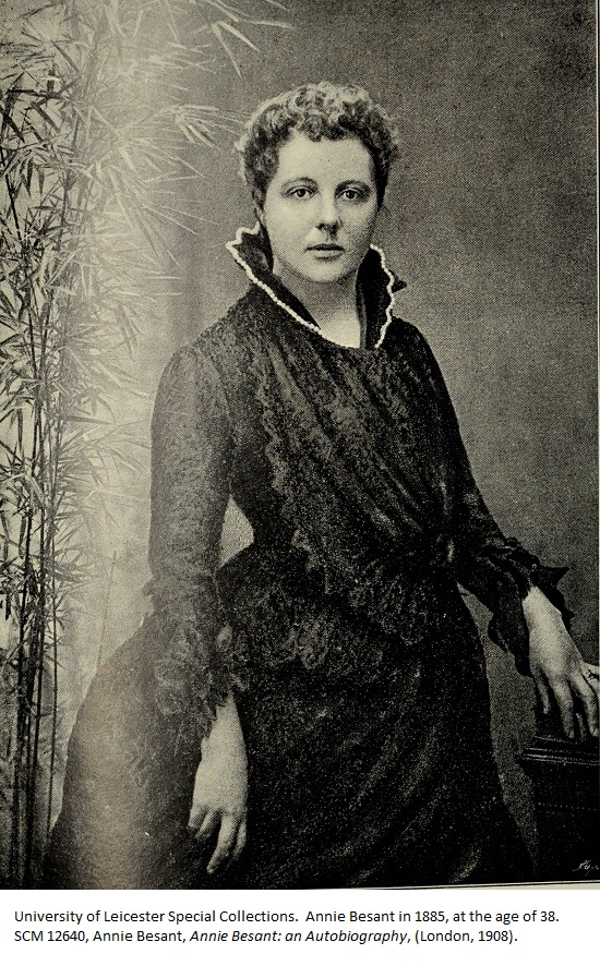 Annie Besant in 1885, at the age of 38. SCM 12640, Annie Besant, Annie Besant: an Autobiography, (London, 1908).