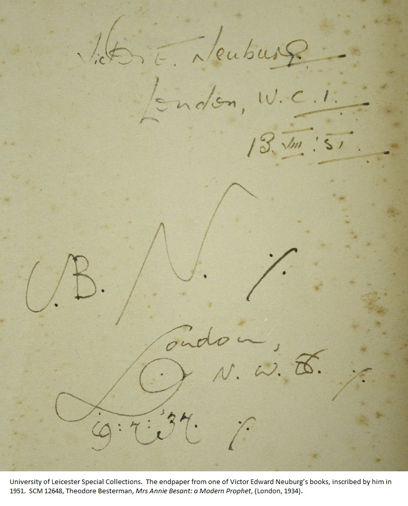 The endpaper from one of Victor Edward Neuburg's books, inscribed by him in 1951. SCM 12648, Theodore Besterman, Mrs Annie Besant: a Modern Prophet, (London, 1934).