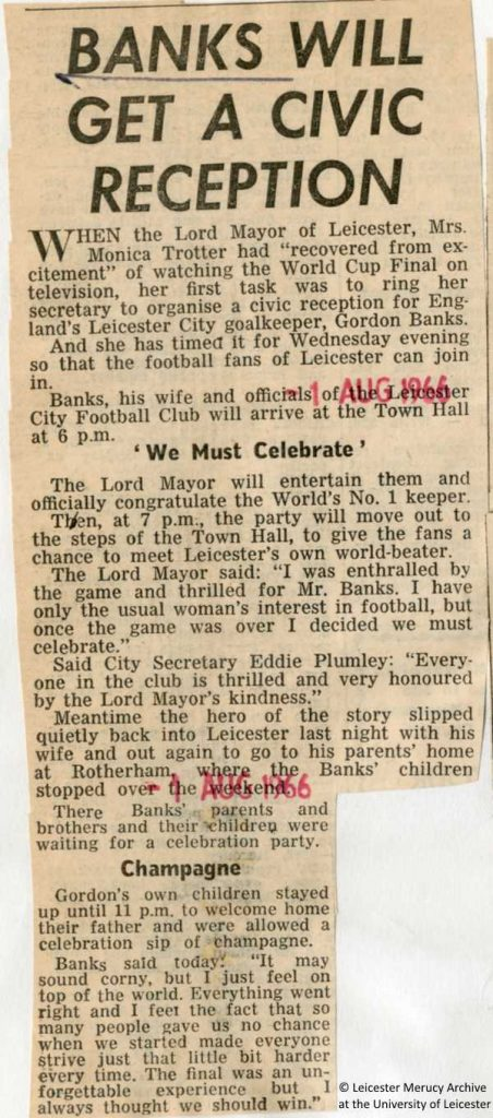 "Press cutting: ""Banks will get a civic reception"", (Leicester Mercury Archive, 1 August 1966)"