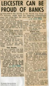 "Press cutting, ""Leicester can be proud of Banks"" (Leicester Mercury, 1 August 1966)"